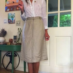 Vintage Khaki A-Line Skirt
